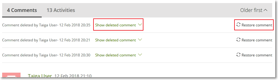 View and restore deleted comments